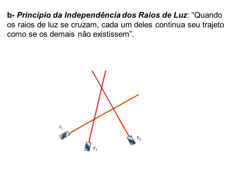 b- Princípio da Independência dos Raios de Luz: Quando os raios de luz se cruzam, cada um deles continua seu trajeto como se os demais não existissem .