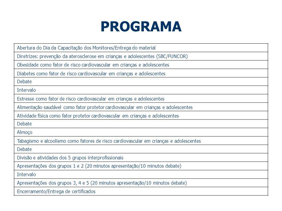 PROGRAMA Abertura do Dia da Capacitação dos Monitores/Entrega do material.