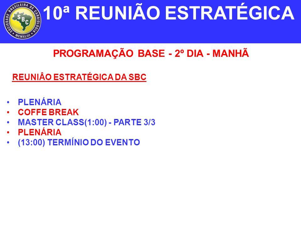 PROGRAMAÇÃO BASE - 2º DIA - MANHÃ REUNIÂO ESTRATÉGICA DA SBC