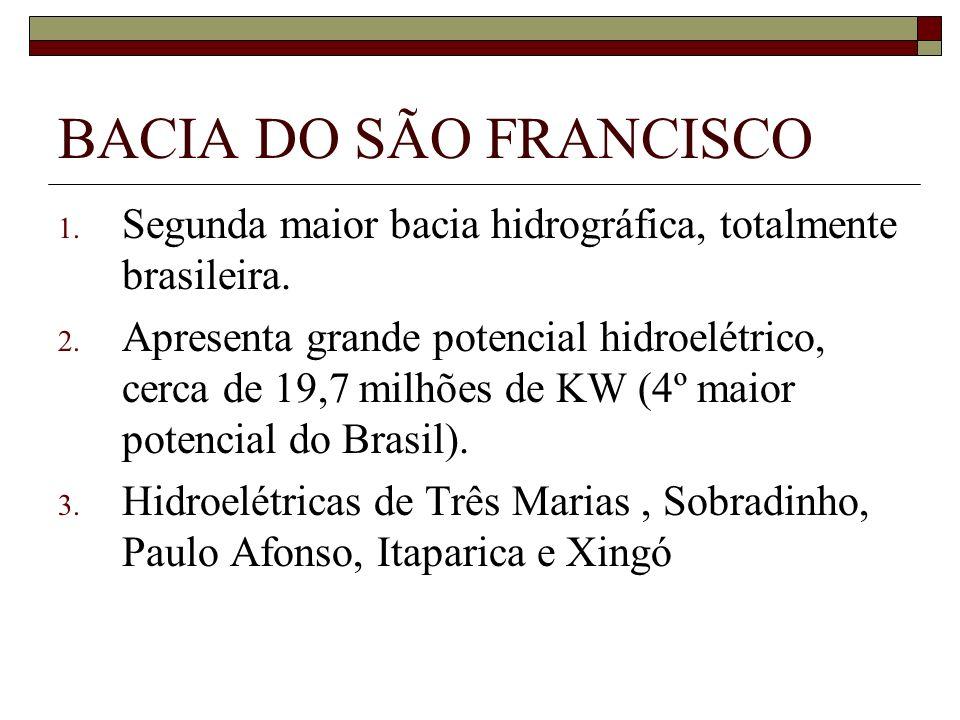 BACIA DO SÃO FRANCISCO Segunda maior bacia hidrográfica, totalmente brasileira.