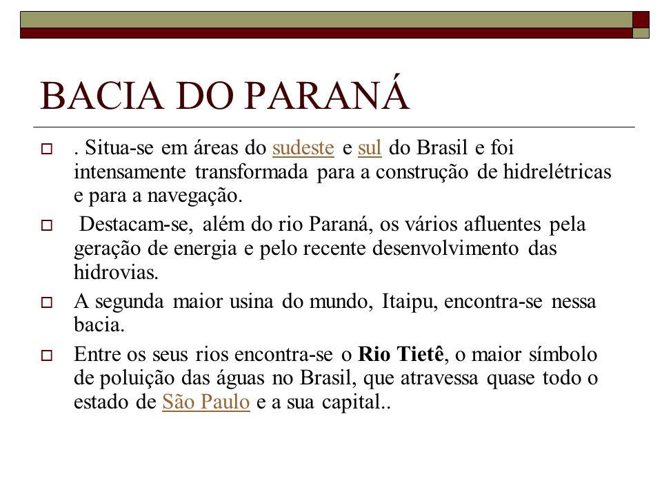 BACIA DO PARANÁ. Situa-se em áreas do sudeste e sul do Brasil e foi intensamente transformada para a construção de hidrelétricas e para a navegação.