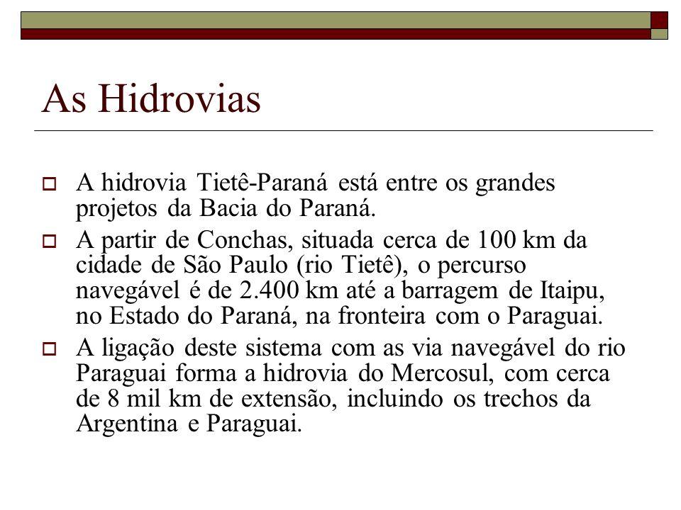 As HidroviasA hidrovia Tietê-Paraná está entre os grandes projetos da Bacia do Paraná.