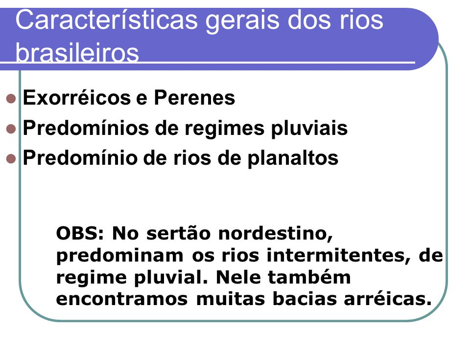 Características gerais dos rios brasileiros