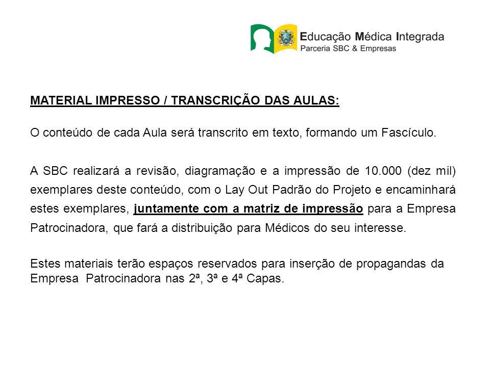 MATERIAL IMPRESSO / TRANSCRIÇÃO DAS AULAS: