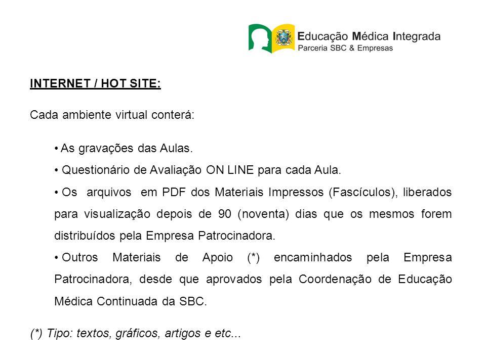 INTERNET / HOT SITE: Cada ambiente virtual conterá: As gravações das Aulas. Questionário de Avaliação ON LINE para cada Aula.