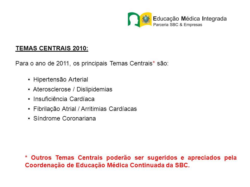 TEMAS CENTRAIS 2010: Para o ano de 2011, os principais Temas Centrais* são: Hipertensão Arterial. Aterosclerose / Dislipidemias.