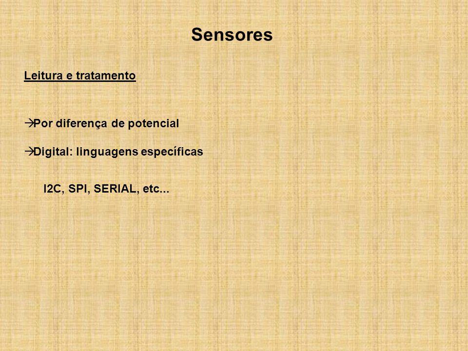 Sensores Leitura e tratamento Por diferença de potencial