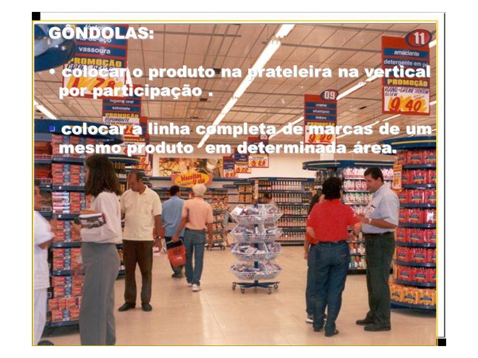 GÔNDOLAS:colocar o produto na prateleira na vertical. por participação . colocar a linha completa de marcas de um.