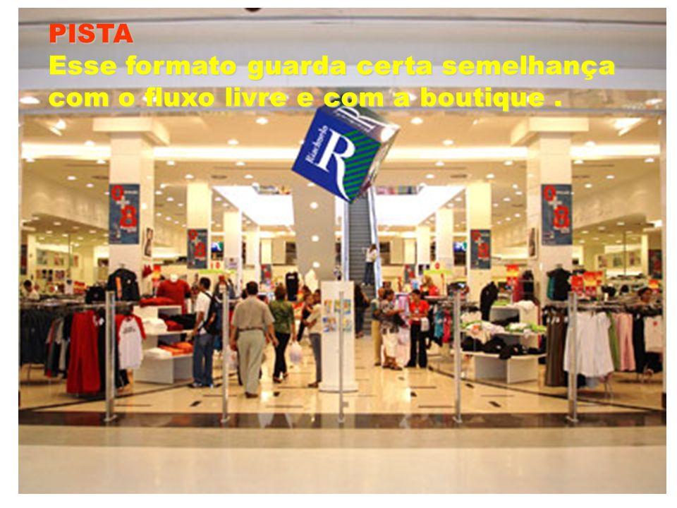 PISTA Esse formato guarda certa semelhança com o fluxo livre e com a boutique .