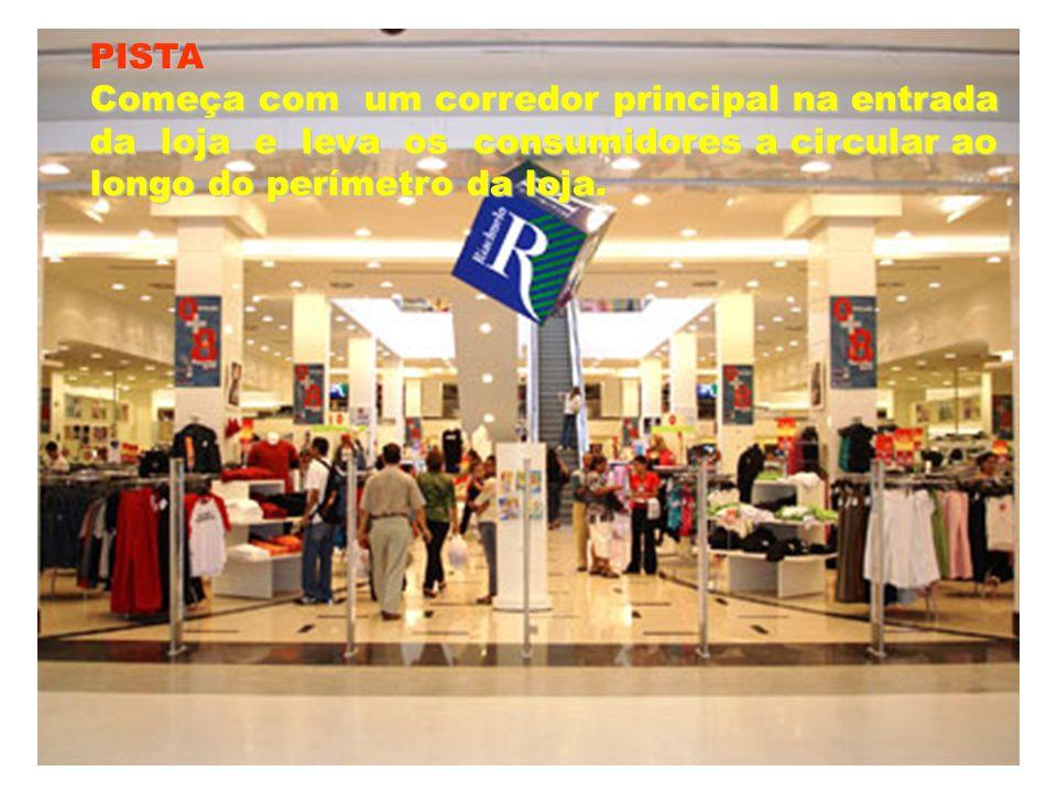 PISTA Começa com um corredor principal na entrada. da loja e leva os consumidores a circular ao.