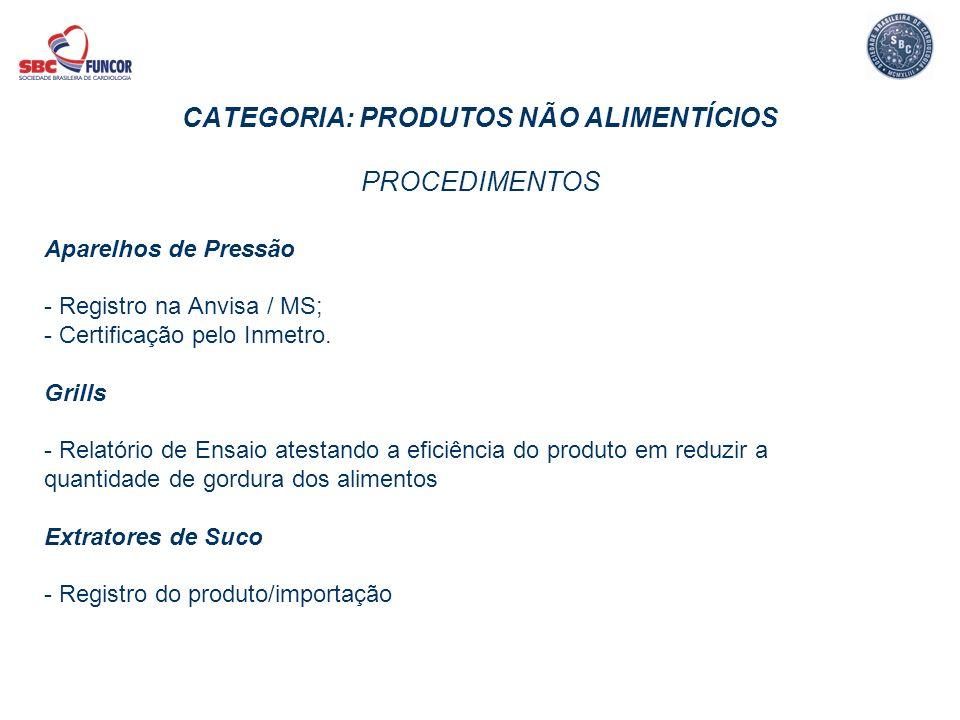 CATEGORIA: PRODUTOS NÃO ALIMENTÍCIOS PROCEDIMENTOS
