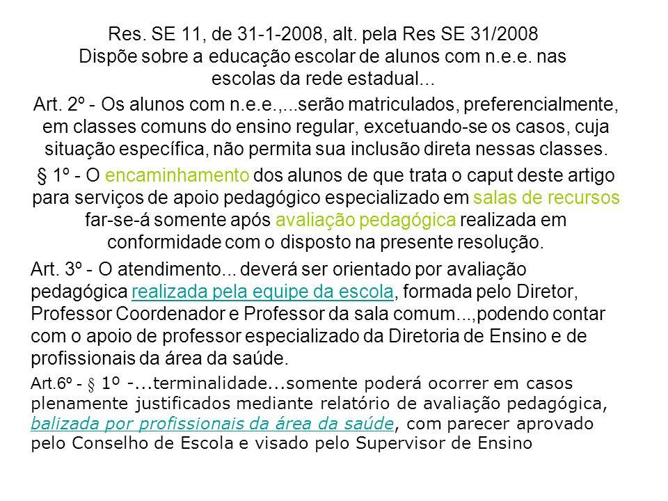 Res. SE 11, de 31-1-2008, alt. pela Res SE 31/2008 Dispõe sobre a educação escolar de alunos com n.e.e. nas escolas da rede estadual...