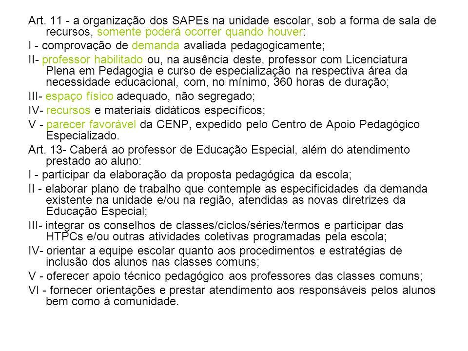Art. 11 - a organização dos SAPEs na unidade escolar, sob a forma de sala de recursos, somente poderá ocorrer quando houver: