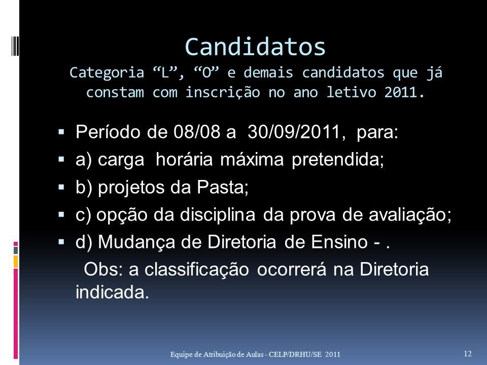 Candidatos Categoria L , O e demais candidatos que já constam com inscrição no ano letivo 2011.