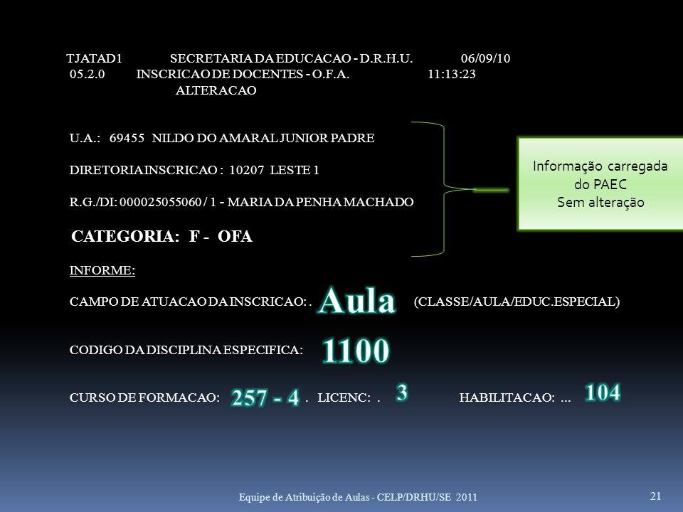 Informação carregada do PAEC