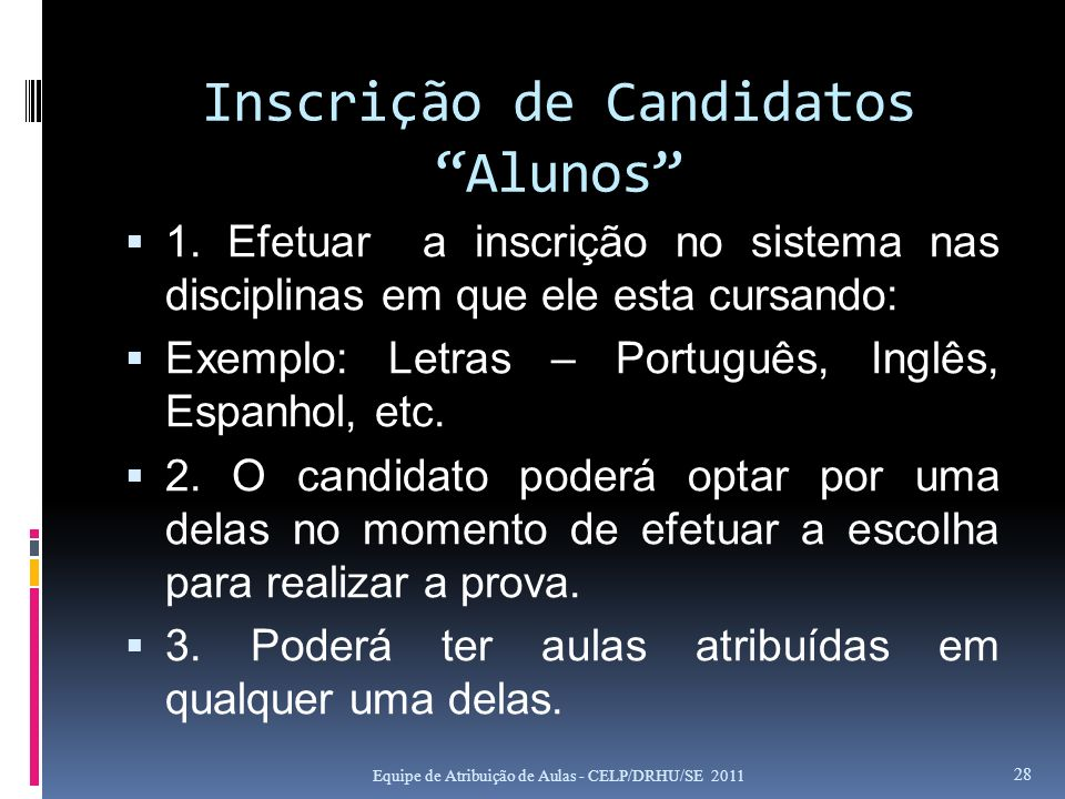 Inscrição de Candidatos Alunos