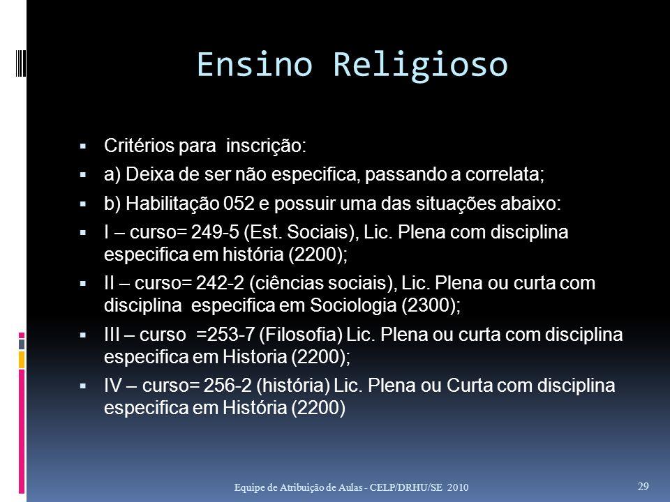 Ensino Religioso Critérios para inscrição: