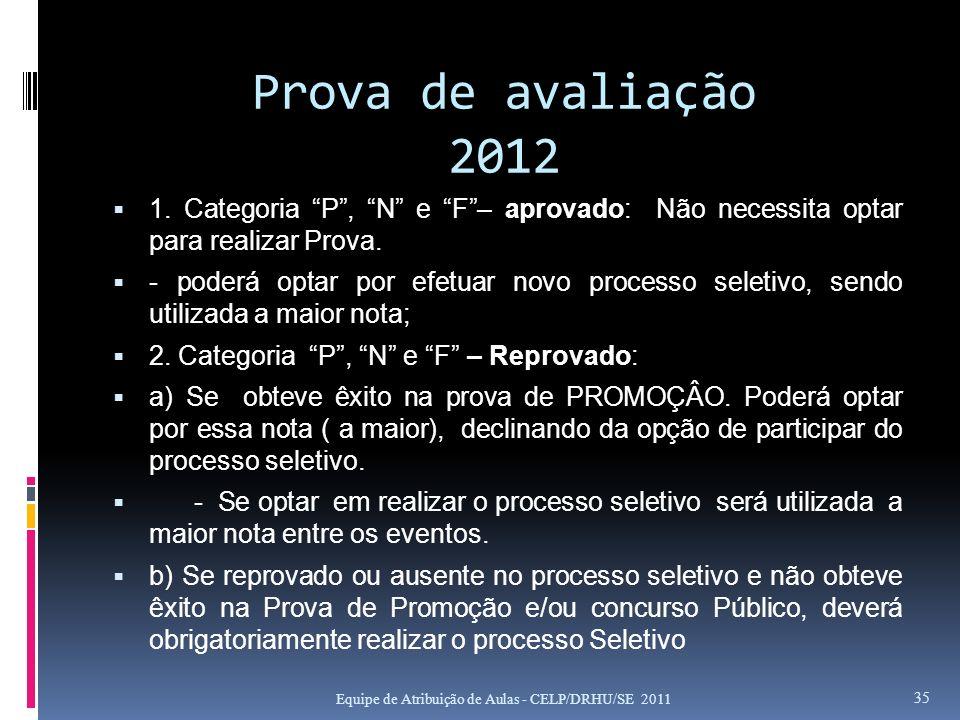 Prova de avaliação 2012 1. Categoria P , N e F – aprovado: Não necessita optar para realizar Prova.