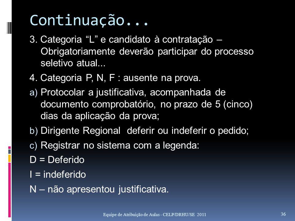 Continuação... 3. Categoria L e candidato à contratação – Obrigatoriamente deverão participar do processo seletivo atual...