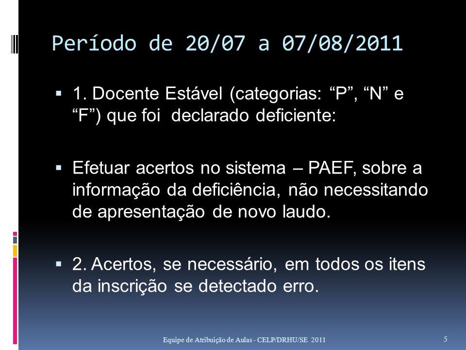 Período de 20/07 a 07/08/2011 1. Docente Estável (categorias: P , N e F ) que foi declarado deficiente: