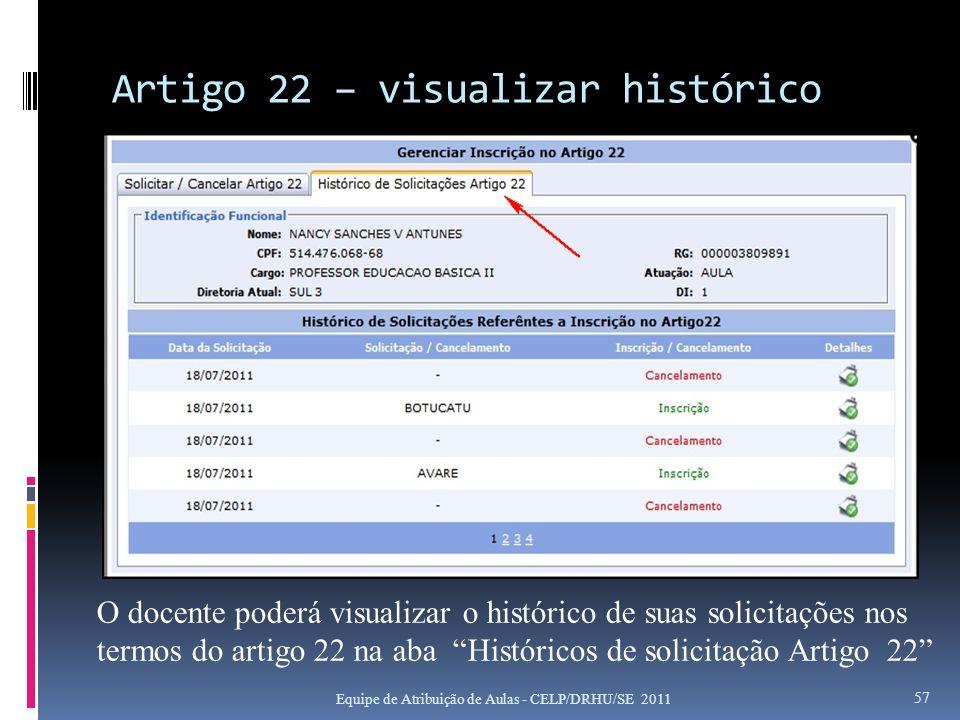 Artigo 22 – visualizar histórico