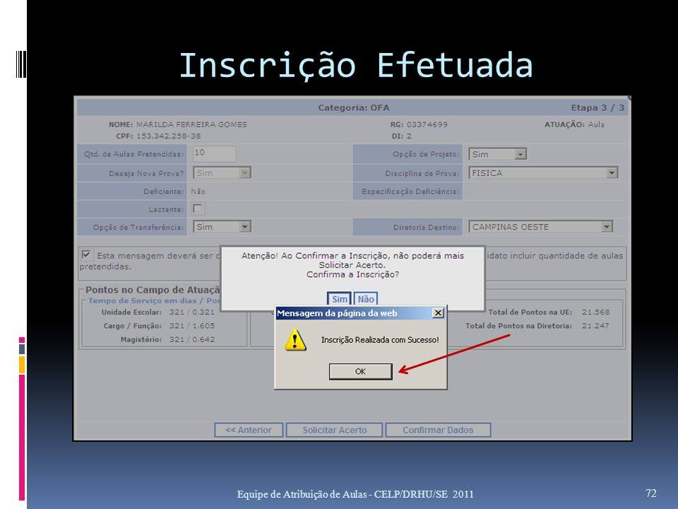 Inscrição Efetuada Equipe de Atribuição de Aulas - CELP/DRHU/SE 2011