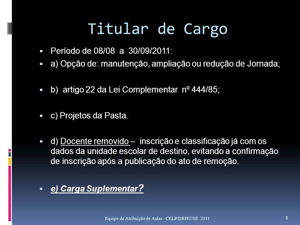 Titular de Cargo Período de 08/08 a 30/09/2011: