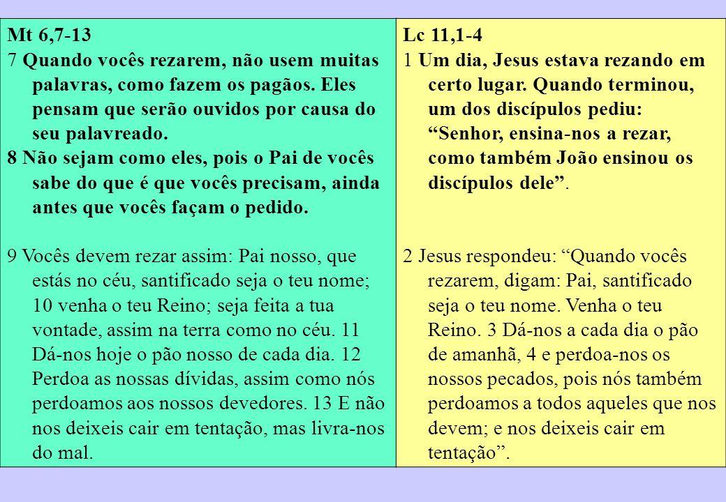 Mt 6,7-13 7 Quando vocês rezarem, não usem muitas palavras, como fazem os pagãos. Eles pensam que serão ouvidos por causa do seu palavreado.