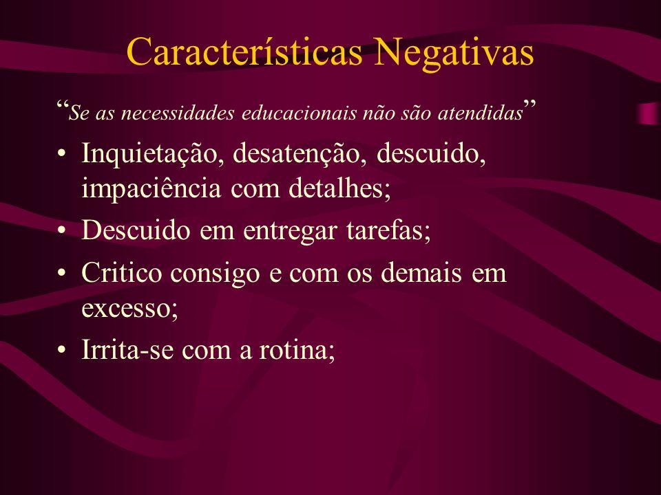 Características Negativas