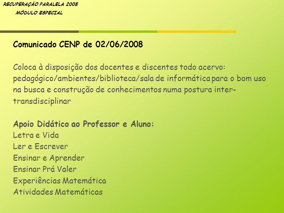 Comunicado CENP de 02/06/2008