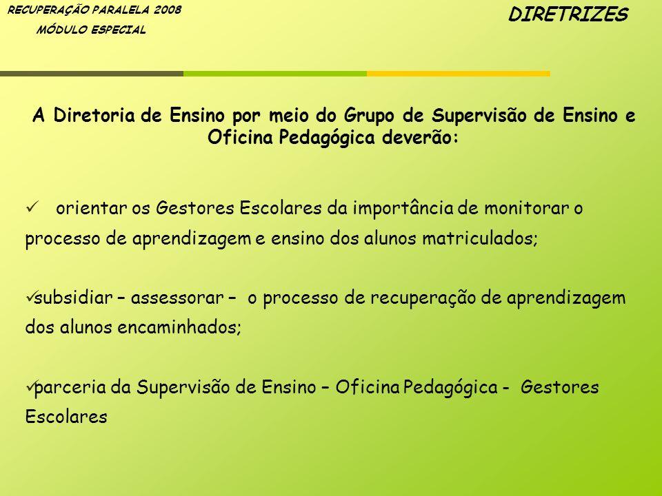 DIRETRIZES A Diretoria de Ensino por meio do Grupo de Supervisão de Ensino e Oficina Pedagógica deverão: