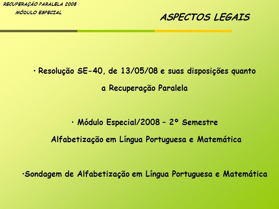 ASPECTOS LEGAIS Resolução SE-40, de 13/05/08 e suas disposições quanto