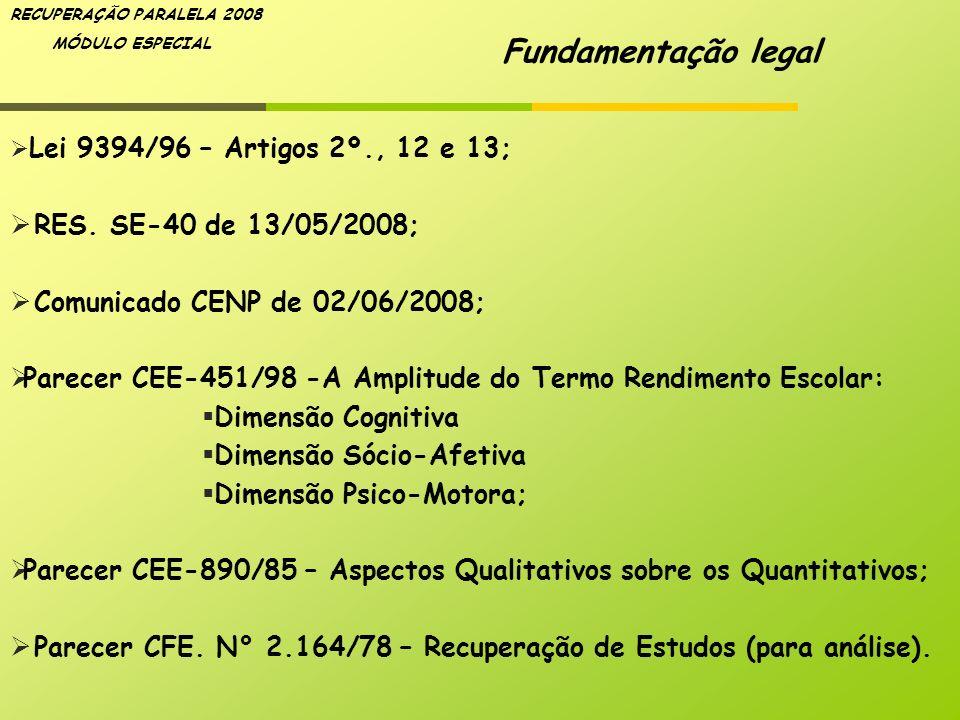 Fundamentação legal RES. SE-40 de 13/05/2008;