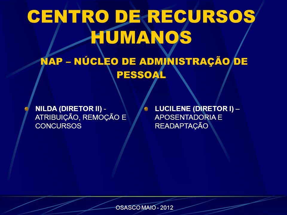 CENTRO DE RECURSOS HUMANOS NAP – NÚCLEO DE ADMINISTRAÇÃO DE PESSOAL