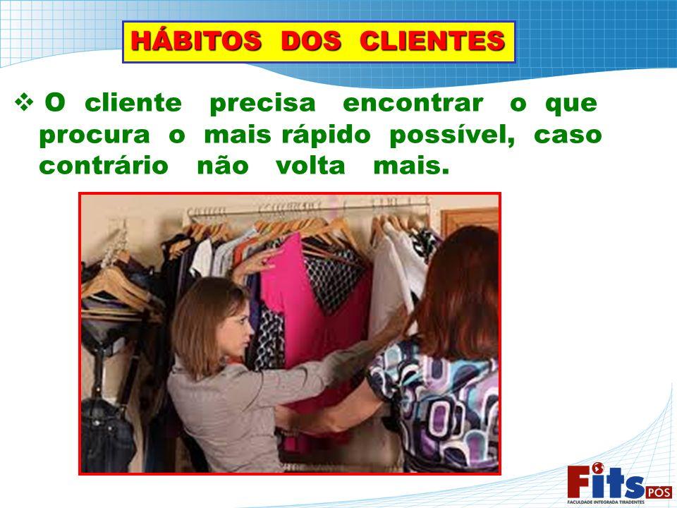 HÁBITOS DOS CLIENTES O cliente precisa encontrar o que. procura o mais rápido possível, caso.
