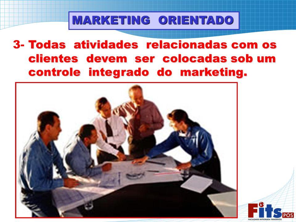 MARKETING ORIENTADO 3- Todas atividades relacionadas com os. clientes devem ser colocadas sob um.