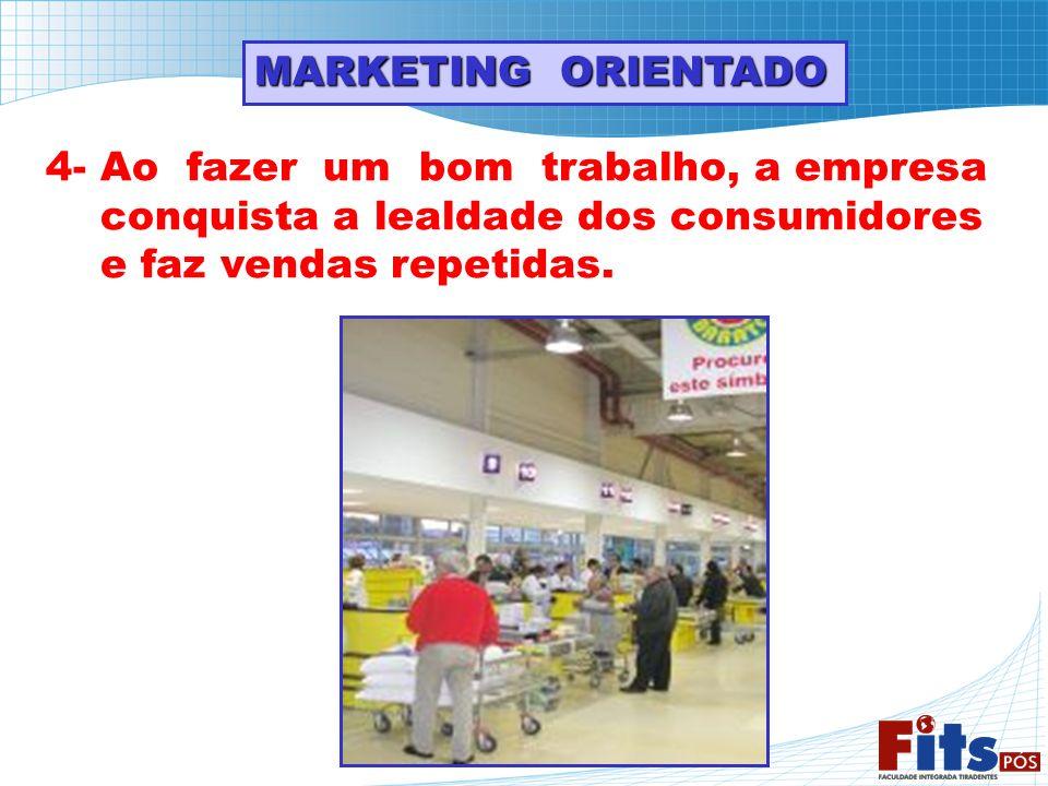 MARKETING ORIENTADO 4- Ao fazer um bom trabalho, a empresa. conquista a lealdade dos consumidores.
