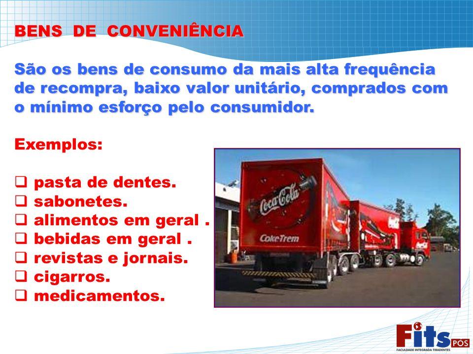 BENS DE CONVENIÊNCIA São os bens de consumo da mais alta frequência. de recompra, baixo valor unitário, comprados com.
