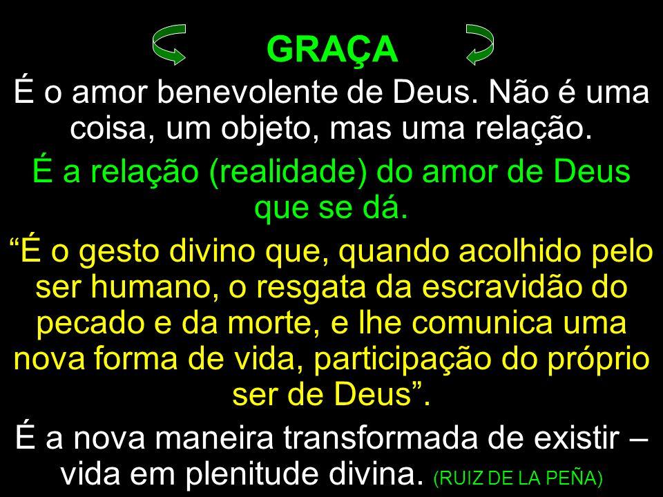 É a relação (realidade) do amor de Deus que se dá.