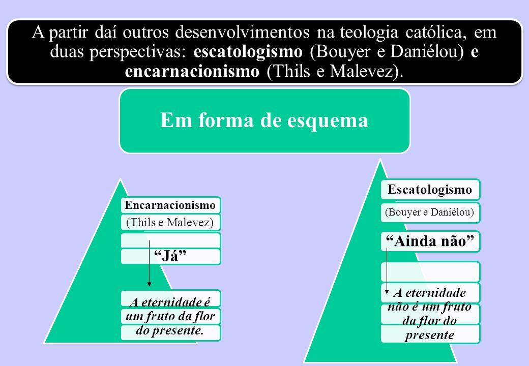 A partir daí outros desenvolvimentos na teologia católica, em duas perspectivas: escatologismo (Bouyer e Daniélou) e encarnacionismo (Thils e Malevez).