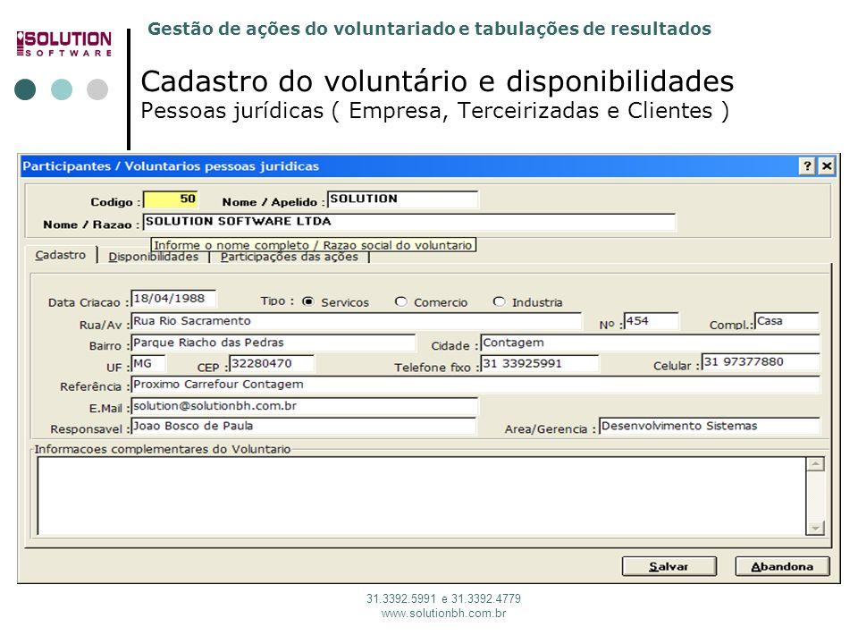 sssssssss Cadastro do voluntário e disponibilidades Pessoas jurídicas ( Empresa, Terceirizadas e Clientes )