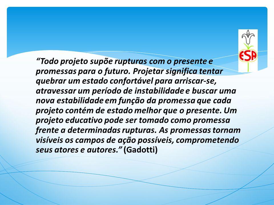 Todo projeto supõe rupturas com o presente e promessas para o futuro