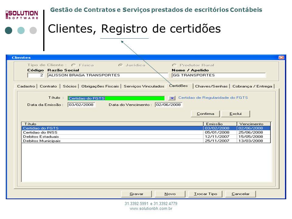 Clientes, Registro de certidões