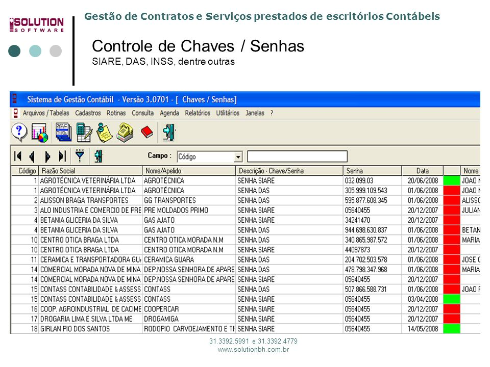 Controle de Chaves / Senhas SIARE, DAS, INSS, dentre outras