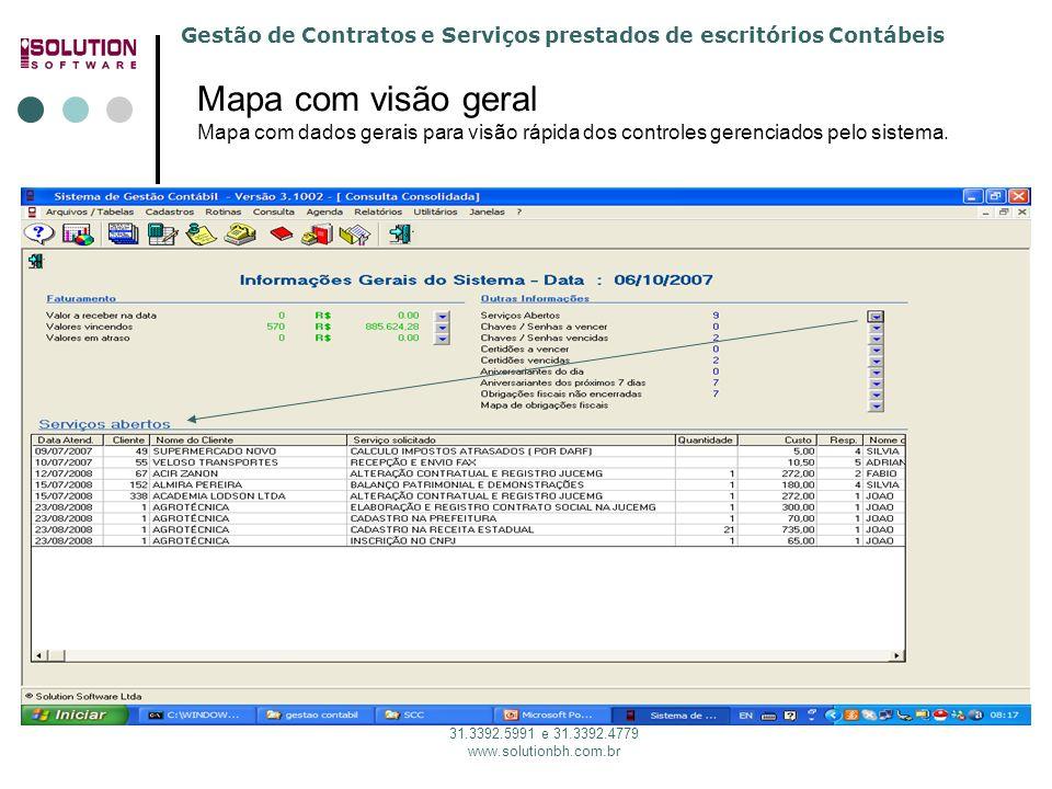 Solution Software 31. 3392.5991 Mapa com visão geral Mapa com dados gerais para visão rápida dos controles gerenciados pelo sistema.