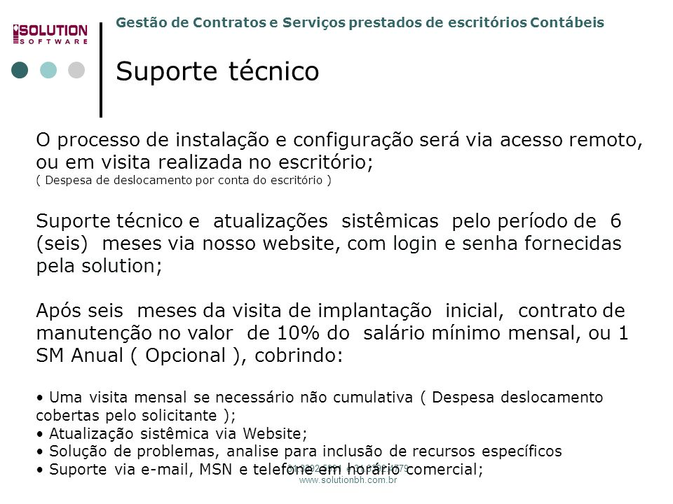 Solution Software 31. 3392.5991 Suporte técnico.