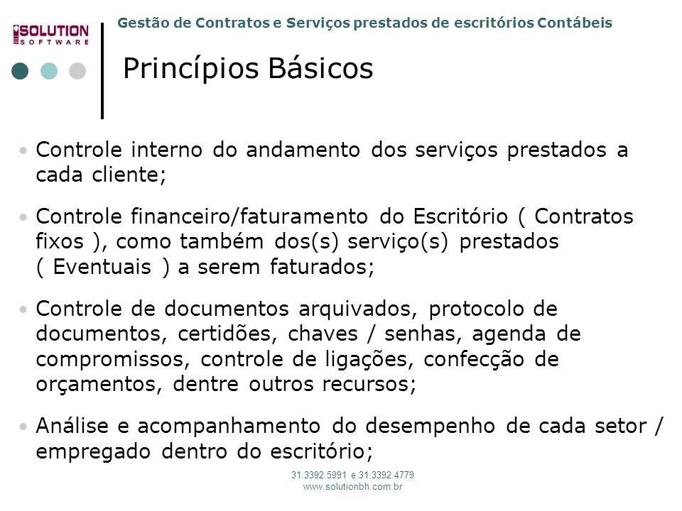 Solution Software 31. 3392.5991 Princípios Básicos. Controle interno do andamento dos serviços prestados a cada cliente;