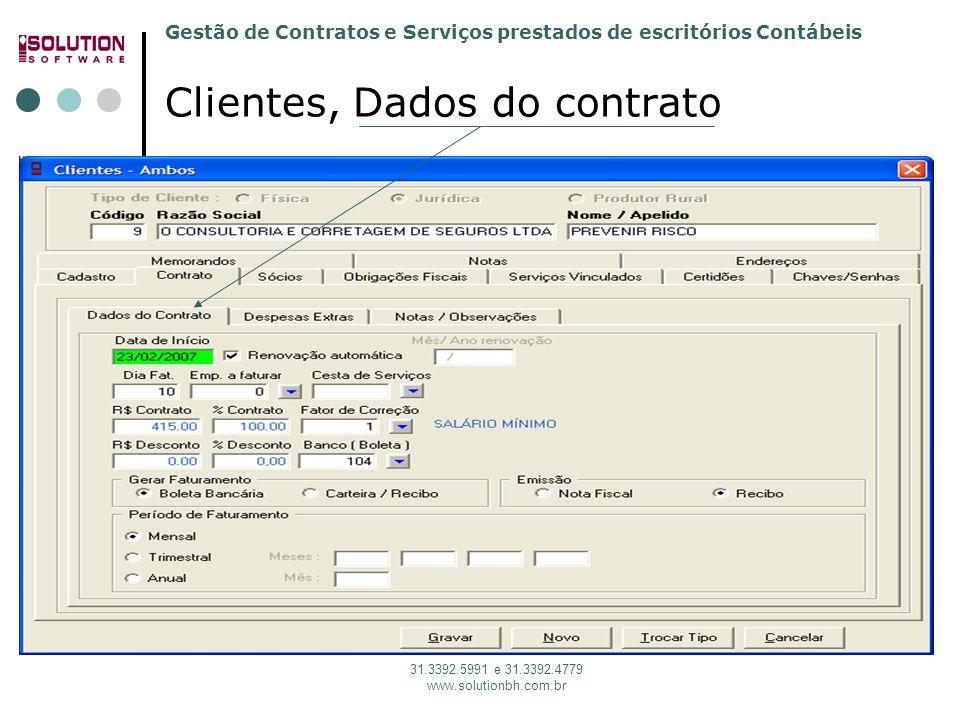 Clientes, Dados do contrato