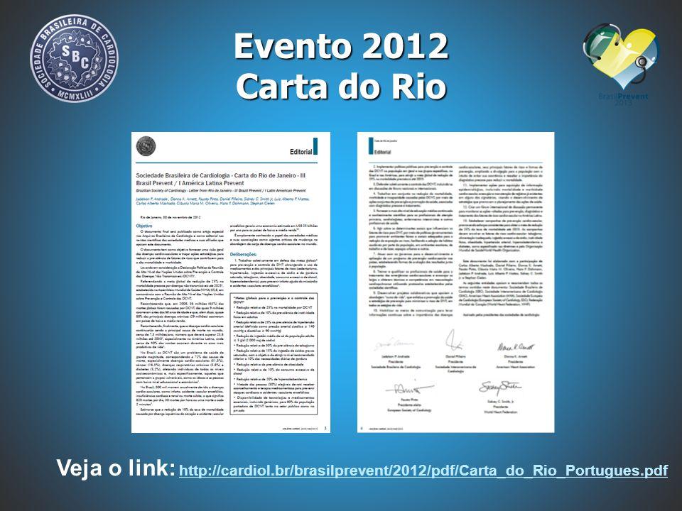 Evento 2012 Carta do Rio Veja o link: http://cardiol.br/brasilprevent/2012/pdf/Carta_do_Rio_Portugues.pdf.