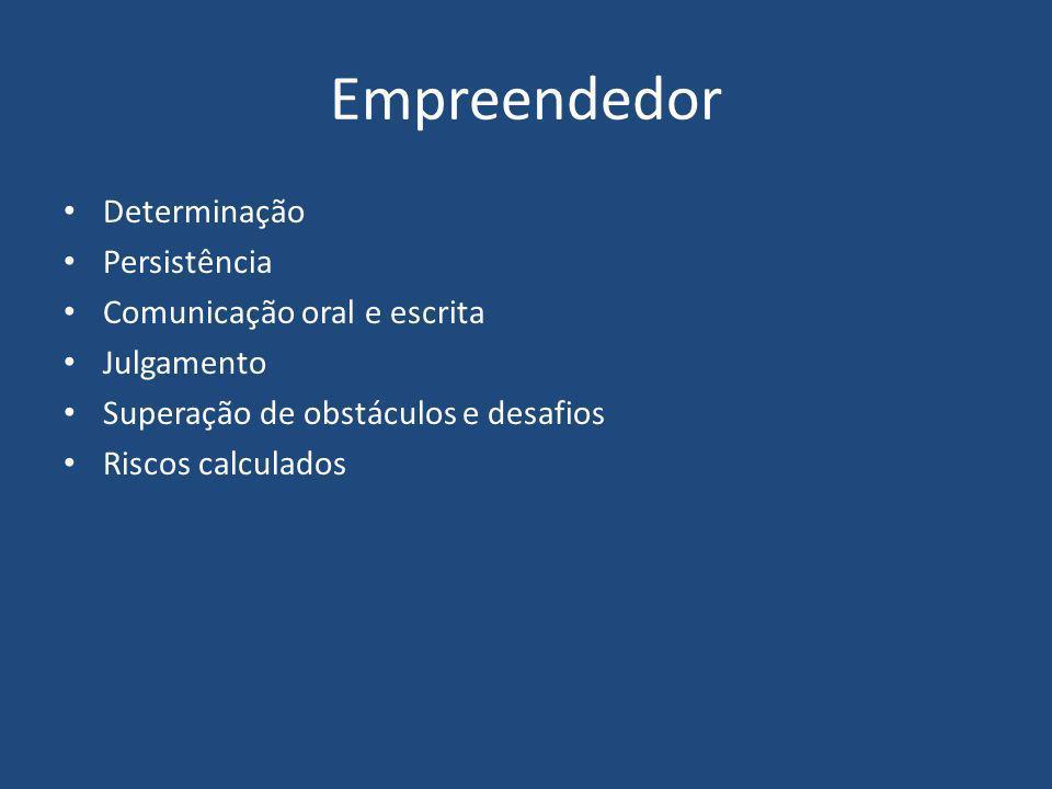 Empreendedor Determinação Persistência Comunicação oral e escrita